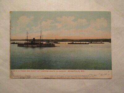 USS Texas Fleet Torpedo boats in harbor Annapolis Maryland MD Postcard