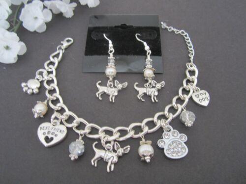 Chihuahua Charm Bracelet & Earrings w/ Fresh water Pearls & Swrosvski Crystals