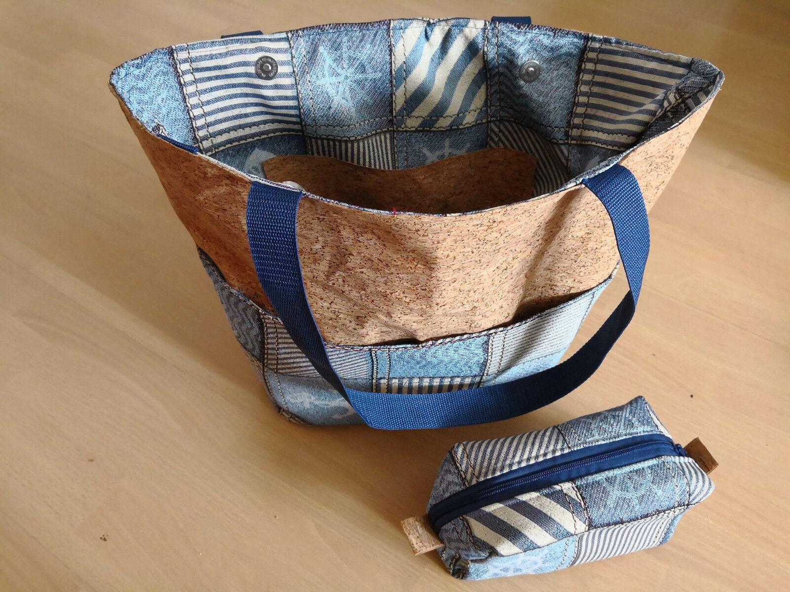 Unikat - 2tlg. Set  -  Damen-Shopper Handtasche + Kosmetik-Tasche Kork-Maritim
