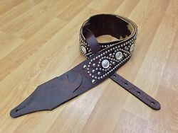 Carlino Identity Paul Stanley Style Studded Brown Bison Leather Guitar Strap