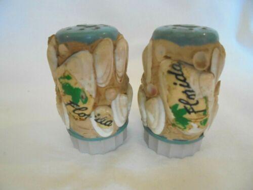 Vintage Sea Shell Encrusted Salt and Pepper Shaker Set Florida Souvenir