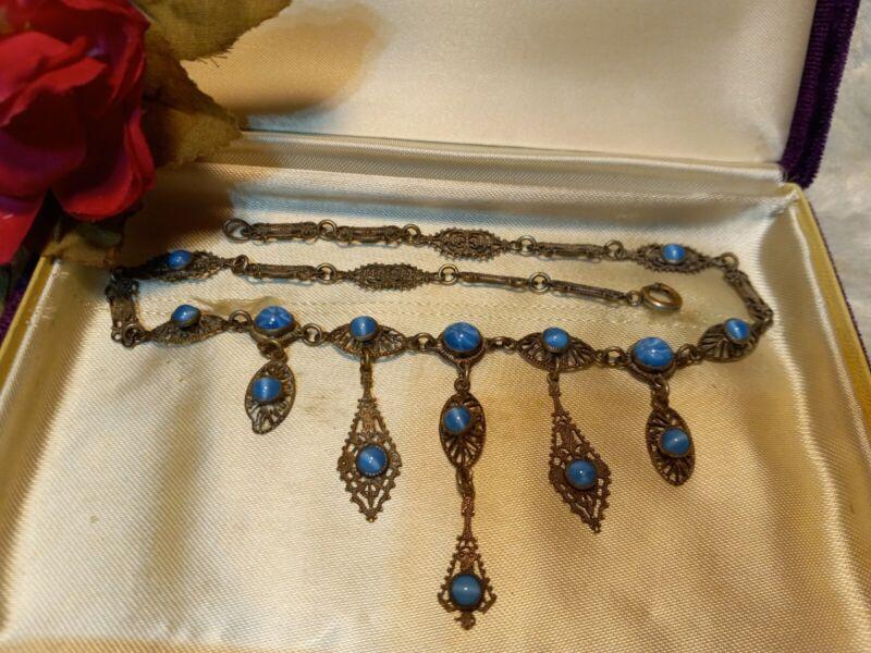 Antique Victorian Blue Moonstone Glass Dangle Silver Filigree Link Necklace