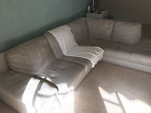 Grey Leather Couch Lane Cove Lane Cove Area Preview