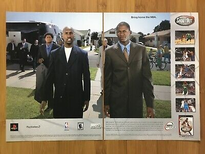 NBA Shootout 2004 PS1 PS2 Vintage Print Ad/Poster Official Basketball Game Art