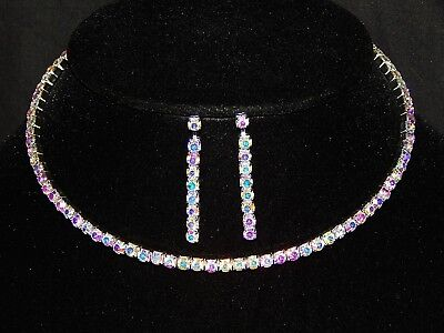 - FLEXIBLE AB IRIDESCENT RHINESTONE SINGLE STRAND NECKLACE, EARRING Bridal SET /1