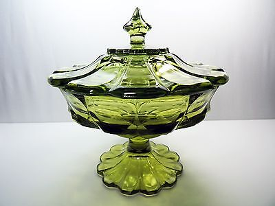 Vintage Large Paneled Glass Green Candy Dish Compote Bowl With Lid Pressed Glass