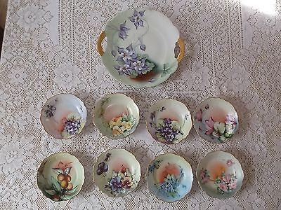 "Antique O & E G Royal Austria Hand Painted 5.25"" Bowls & One 10.5"" Serving Plate"