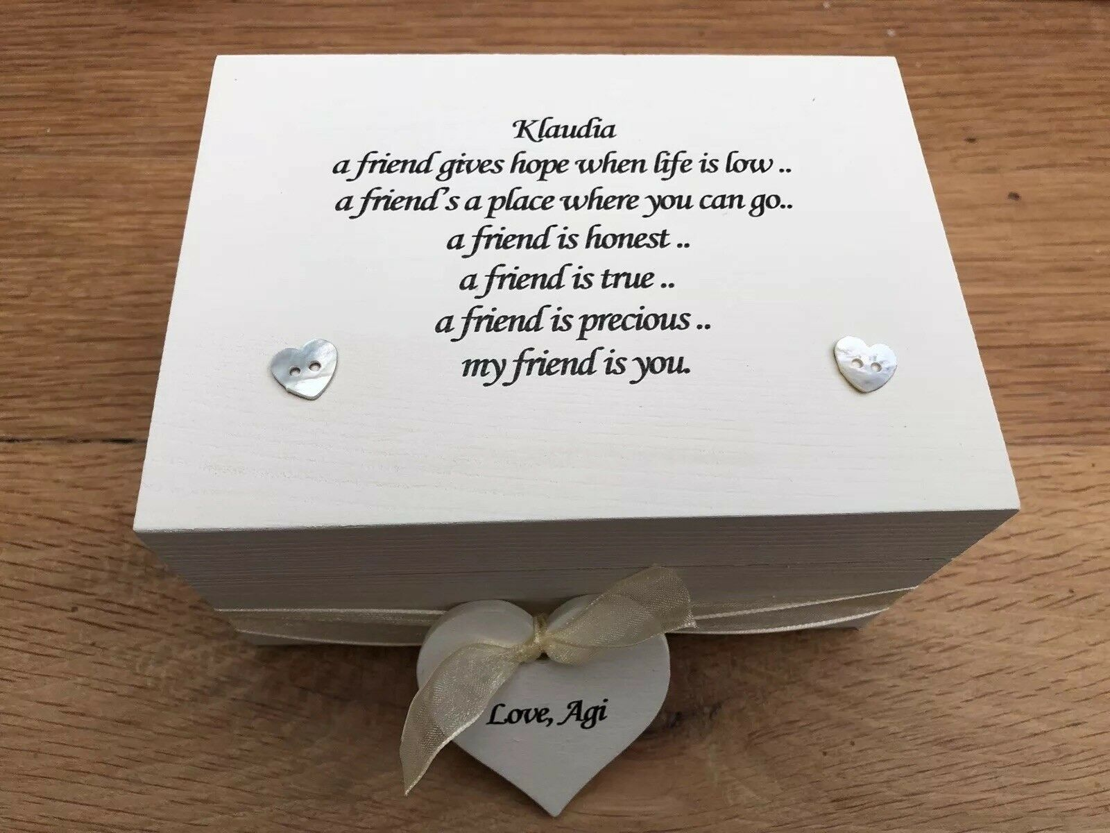 Shabby Personalised Chic Special Best Friend Gift Trinket Jewellery Box - 332927637858