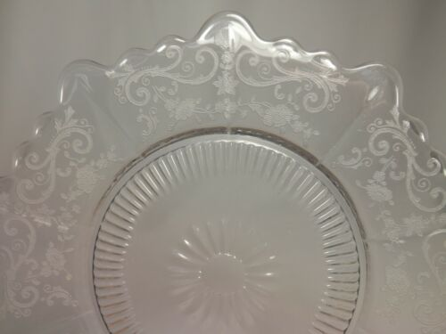 "4 Cambridge CHANTILLY MARTHA 8"" Salad Plates Clear Etch Elegant Glass Excellent"