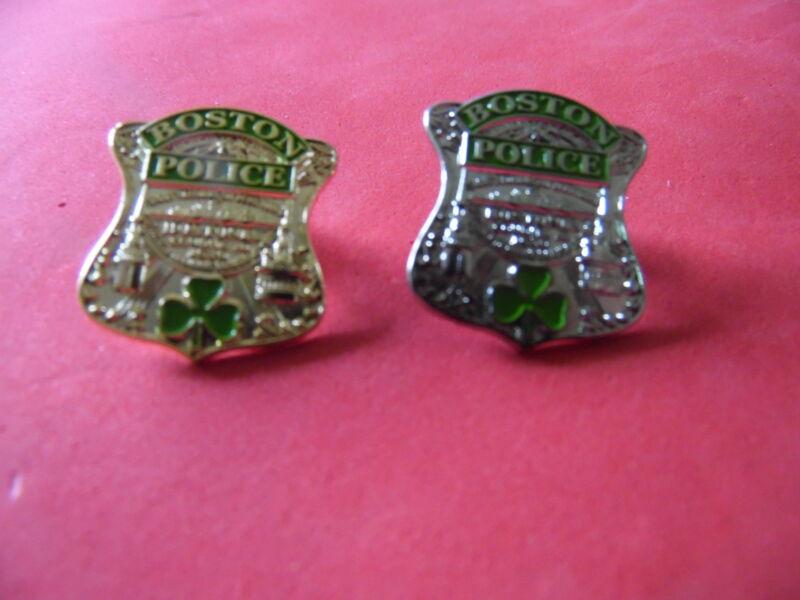 ONE Boston Police Irish Shamrock Badge pin