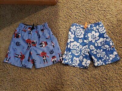 Carter's boys size 5 5T swim trunks shorts Blue Pirate Flowers 2 pair EUC