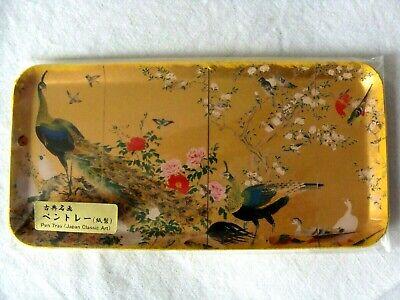 JAPAN Classic ART Gilt PEN TRAY by ASAHI CARD Peacock BOXED 19.5 cm 7.75