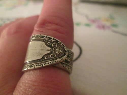 Vintage Silver Spoon Ring Ornate Size 6 1/2