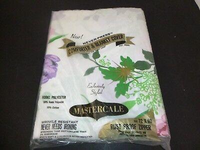 NOS Vtg Mastercale Comforter Blanket Cover W/ Zipper Pink Purple Floral 72x90
