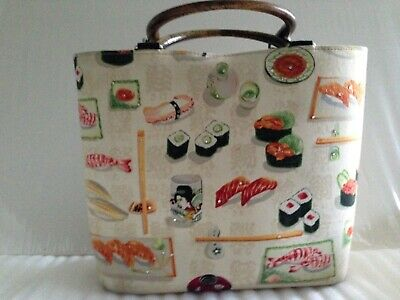 Women's Vintage Novelty Sushi Lover Tote Handbag Bamboo Handle Made in USA Bamboo Vintage Handbag