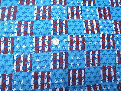 2 Yds Glittery Rot Weiß Blau Sterne & Streifen 2 1 2 Quadrate Baumwollstoff ()