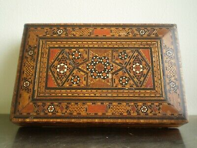 Box Boxset Marquetry Wood Mosaic Oriental Syria Deco Antique