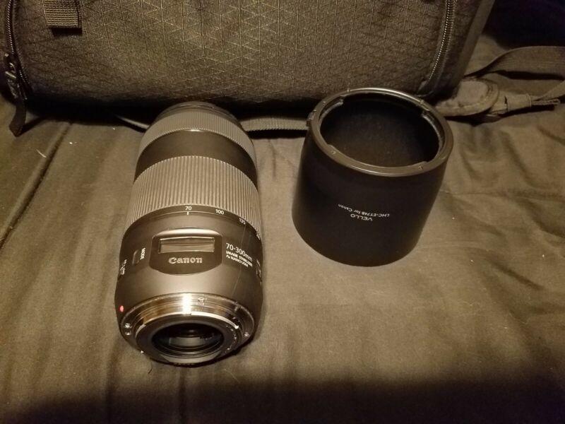 Canon Zoom Lens EF 70-300mm f/4-5.6 IS II Usm Lens, with hood.