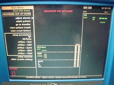 Ge Critikon Dinamap Pro 1000 Patient Monitor - Masimo Spo2 Nibp Ecg Temp Rec