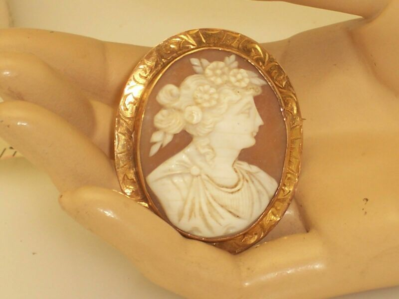 Victorian Shell Cameo Greecian Lady With Flowers in Her Hair Rose Gold Color