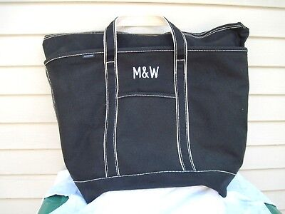 - Lands' End Canvas Black Monogrammed Zip Top Tote Bag Size XL NWT