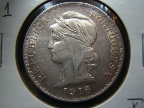 1916 Republic of Portugal Silver One Escudo Only a 2 year type!