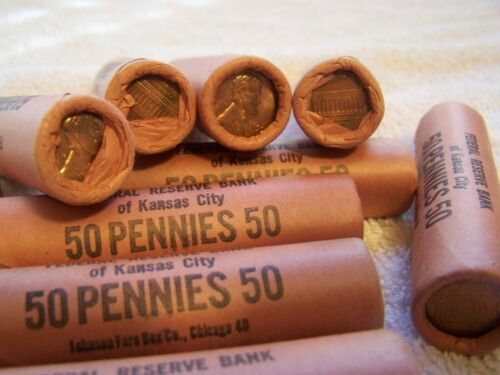 1959-D * Original Bank Wrapped * Uncirculated Lincoln Cent Roll - OBW Pennys (H)