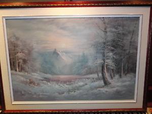 Peinture paysage d'hiver