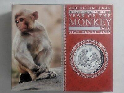 Australia 2016 Year Monkey Lunar Zodiac $1 High Relief Silver -