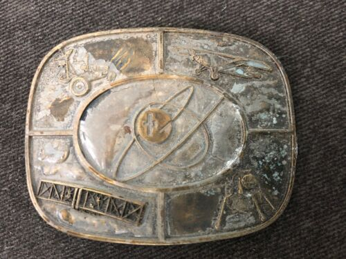 Vintage ATOMIC Transportation Kinney Co Belt Buckle SPACE AGE AIRPLANE 1977