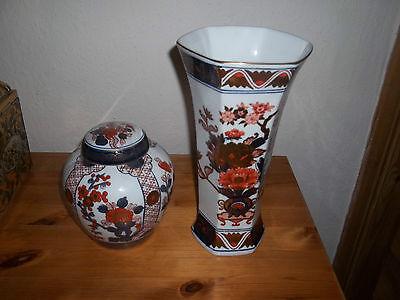 Porzellan, Vase u. Deckeldose, Gold Imari, handbemalt,