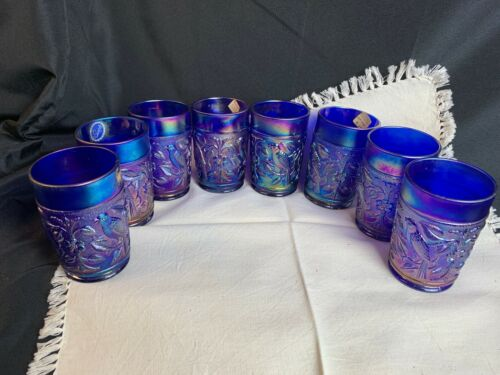 Eight Vintage Imperial Blue Carnival Glass Tumblers Robin