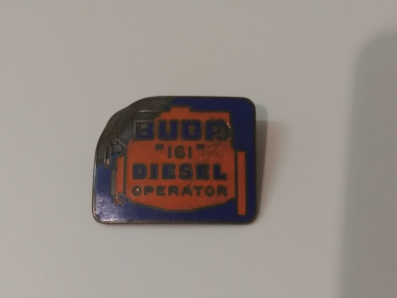Antique Buda 161 Diesel Operator Enamel Badge Pin Advertising Allis Chalmers