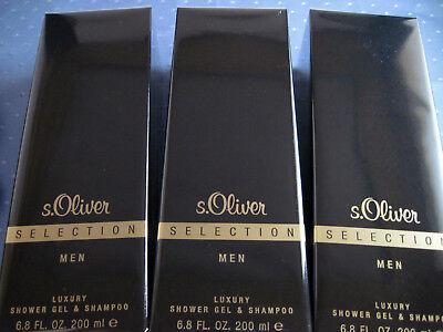 s.Oliver SELECTION MEN, 3 x 200 ml luxuriöses Duschgel, insg. 600 ml, neu, OVP