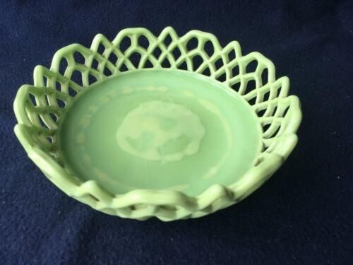 Challinor Taylor Green Open Lace Bowl Atterbury Slag Glass