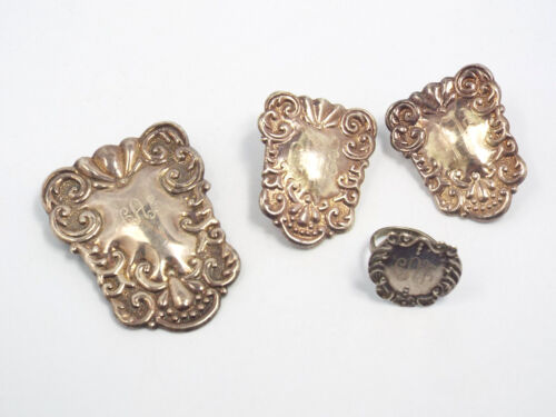 Antique Victorian Sterling Silver Shield Pendant Tag Ring & Earring Set, CAE