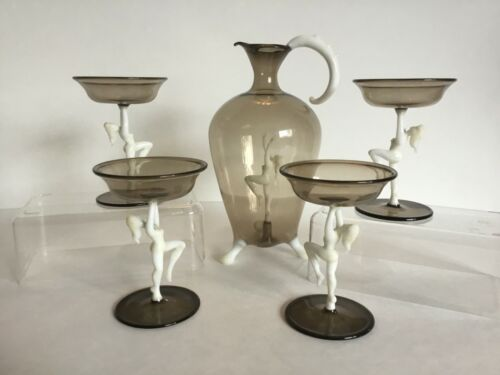 ORIGINAL HAND BLOWN ART DECO BIMINI / LAUSCHA DECANTER SET WITH 4 GLASSES