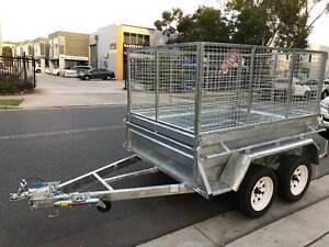8x5 HEAVY DUTY HIGHSIDES TANDEM TRAILER GALVANISED & 2ft MESH CAGE Cardiff Lake Macquarie Area Preview