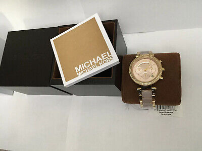 Michael Kors Parker Pink Acetate Gold Glitz Chronograph MK6326 Womens Watch