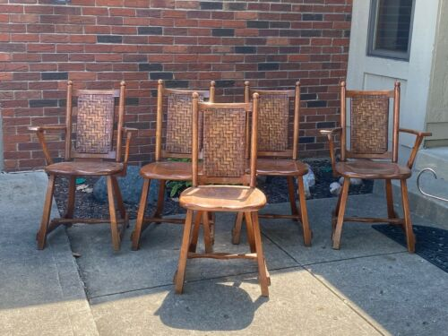 Old Vtg Antique Hickory Arm Chairs + Martinsville Indiana Branded Original LOT 5