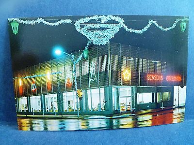 Postcard Ks Coffeyville First Federal Savings   Loan Bank At Christmastime