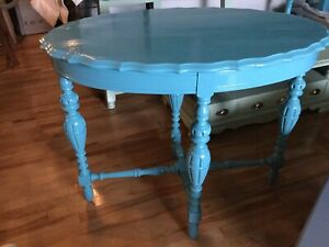 Blue accent table - available