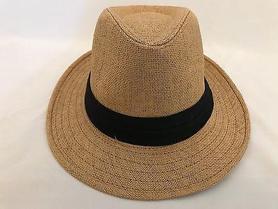 d84df6d0cba MEN WOMEN Straw Hat Trilby Cuban Cap Summer Beach Sun Panama Short Brim  Khaki