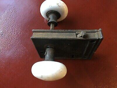 ANTIQUE WHITE PORCELAIN CERAMIC DOOR KNOBS WITH CAST IRON LOCK