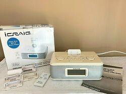 ICRAIG ALARM CLOCK STEREO RADIO IPOD MP3 & AUDIO PLAYER UNIVERSAL DOCK W/BOX
