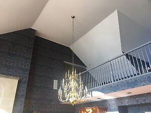 Great Room solid brass chandeliers and wall sconces