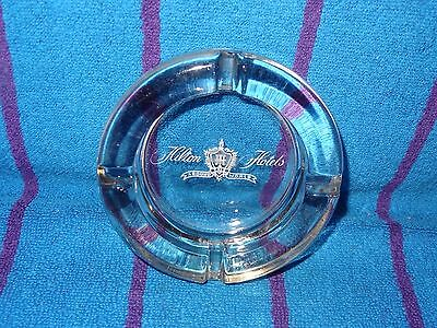 Vintatage Hilton Hotels Around The World Advertising Clear Glass Ashtray