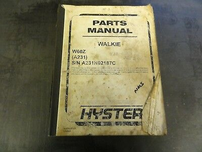 Hyster W60z Walkie Forklift Parts Manual