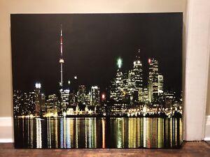 Toronto skyline print canvas picture at night