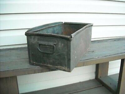 Vintage Metal Parts Bin Stacking Storage  Stacking Box Industrial Dcor